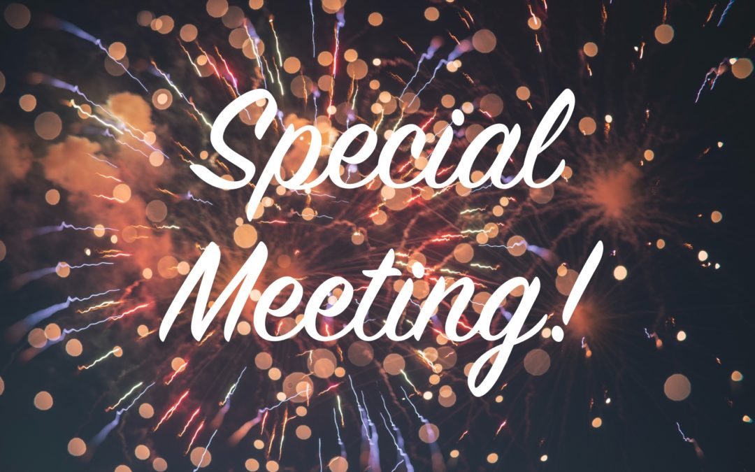 Special Meeting – October 26, 2019 @ 1pm